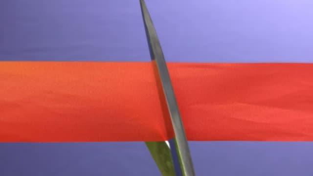 cutting red tape - ribbon stok videoları ve detay görüntü çekimi