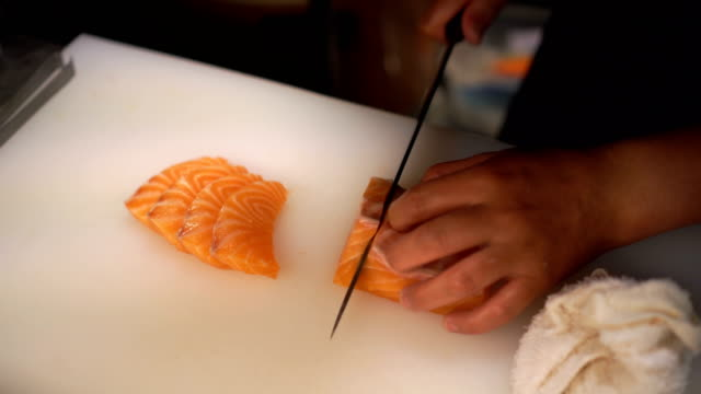 Cutting Salmon Sashimi video