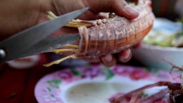 Cutting Seafood in a restaurant