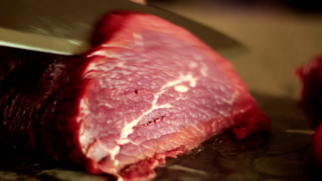 Cutting sirloin beef Closeup of prime cuts beef stock videos & royalty-free footage