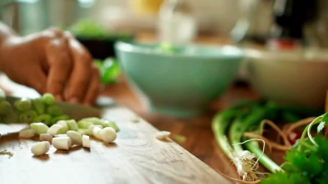 vídeos de stock, filmes e b-roll de de cebolas em uma tábua de corte para nasi goreng - comida salgada