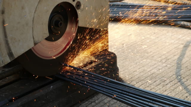 Cutting steel by cutting machine , 4k(UHD) video