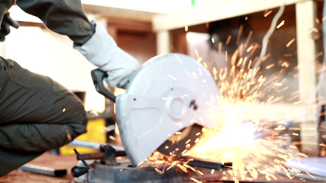 Cutting steel. Video HD of Cutting steel. pipe connector stock videos & royalty-free footage