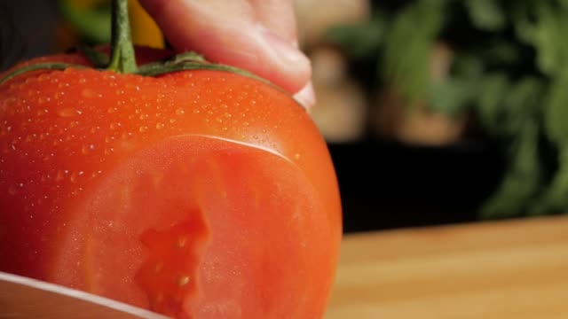 Cutting very fresh tomatoes. Close-up