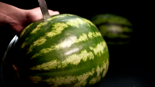 Cutting watermelon by knife video