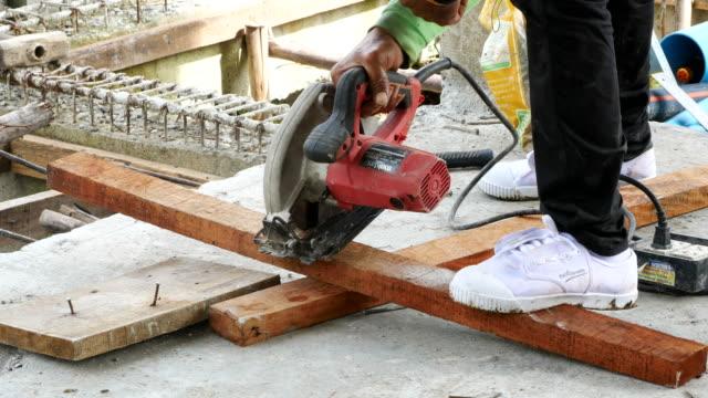 Cutting wood with circular saw machine video