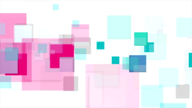 Cyan and pink squares tech abstract video animation