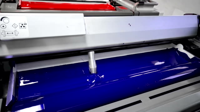 cyan, blue, magenda, red on the offset  press machine - lithograph stock videos & royalty-free footage