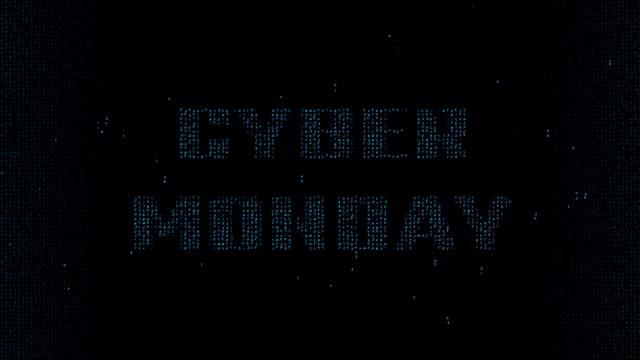 Cyan Cyber Monday on matrix font background video