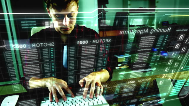 Cyber Attacks A programer hacker trying to breached the security by using algorithm source code to exploit weakness in password security hologram stock videos & royalty-free footage