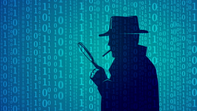 Cyber inspector looking through magnifying lens Cyber inspector looking through magnifying lens with binary codes on the background magnifying glass stock videos & royalty-free footage