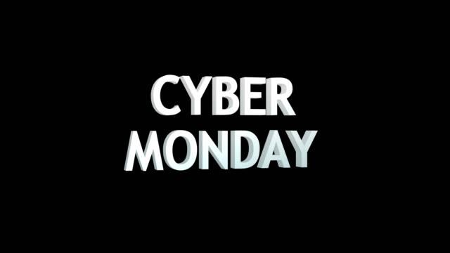 cyber monday 3d text animation render illustration - cyber monday стоковые видео и кадры b-roll
