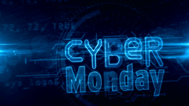 Cyber Monday abstract loopable animation Cyber monday, business promotion, mega sale, hot deal shopping and discount loop concept. Futuristic abstract 3d rendering blue tunnel loopable and seamless animation. cyber monday stock videos & royalty-free footage