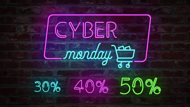 cyber poniedziałek animacji neon znak świetlny i stylizowany koszyk na ceglanej ścianie. sprzedaż banner miga neon styl znak dla promo video - cyber monday filmów i materiałów b-roll