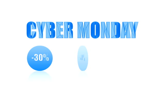 cyber monday big sale looping video (animation, endless, seamless, blue, -30%, -50%, 70%). - cyber monday стоковые видео и кадры b-roll