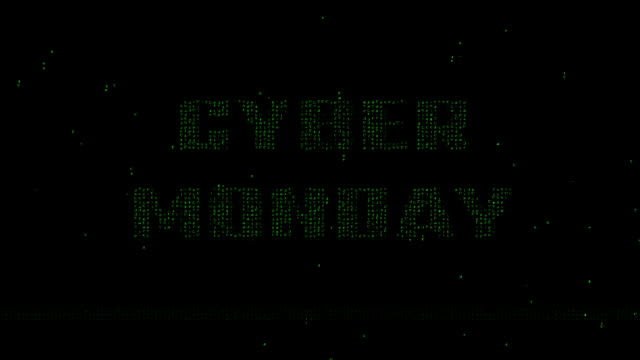 Cyber Monday binary code animated background video