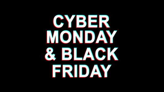 cyber monday & black friday  glitch effect text digital tv distortion 4k loop animation - black friday стоковые видео и кадры b-roll