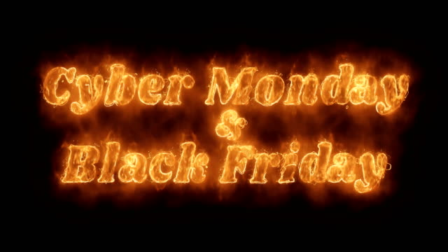 Cyber Monday & Black Friday  Word Hot Animated Burning Realistic Fire Flame Loop. Cyber Monday & Black Friday  Word Hot Animated Burning Realistic Fire Flame and Smoke Seamlessly loop Animation on Isolated Black Background. Fire Word, Fire Text, Flame word, Flame Text, Burning Word, Burning Text. cyber monday stock videos & royalty-free footage