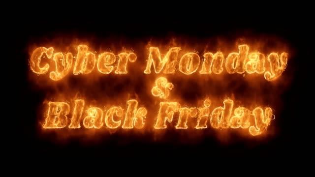 киберпонедельник и черная пятница слово горячая анимированные сжигание реалистичный огонь пламя loop. - cyber monday стоковые видео и кадры b-roll