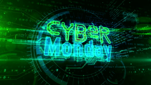 Cyber Monday business promotion symbol abstract Cyber monday, business promotion, mega sale, hot deal, shopping and discount loop concept. Futuristic abstract 3d rendering animation. cyber monday stock videos & royalty-free footage