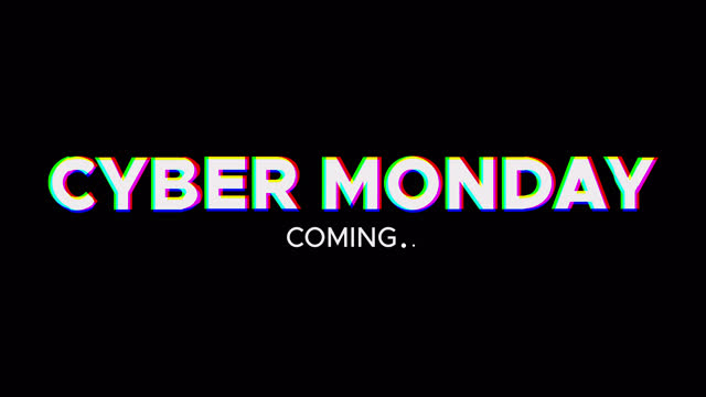 Cyber Monday coming animated text with glitch effect Cyber Monday coming animated text with glitch effect. Promotion banner on black background cyber monday stock videos & royalty-free footage