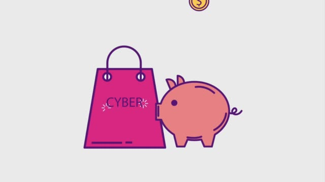 cyber monday concept shopping bag and piggy bank money currency cyber monday animation hd cyber monday stock videos & royalty-free footage