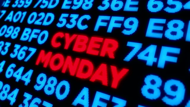 Cyber Monday dynamic pixel text and keywords Cyber monday, big sale, mega discount, special offer, shopping and business abstract concept. Display style dynamic 3d animation with keywords, texts on digital piexl background. cyber monday stock videos & royalty-free footage
