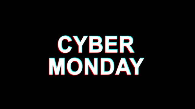 cyber monday glitch effect text digital tv distortion 4k loop animation - cyber monday стоковые видео и кадры b-roll