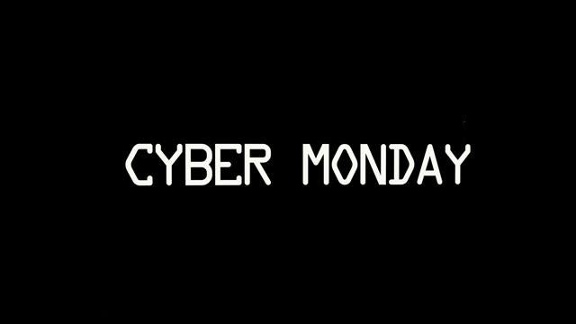 cyber poniedziałek usterka tekst na czarnym tle. koncepcja sprzedaży. animacja pętli - cyber monday filmów i materiałów b-roll