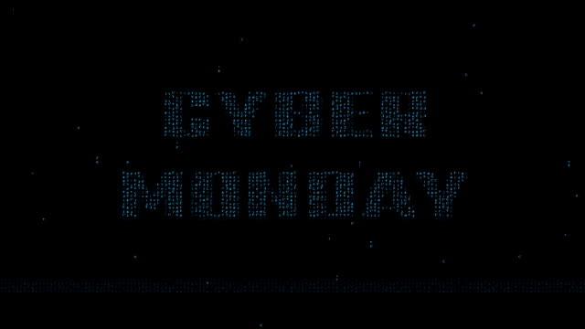 Cyber Monday logo on blue matrix code background video