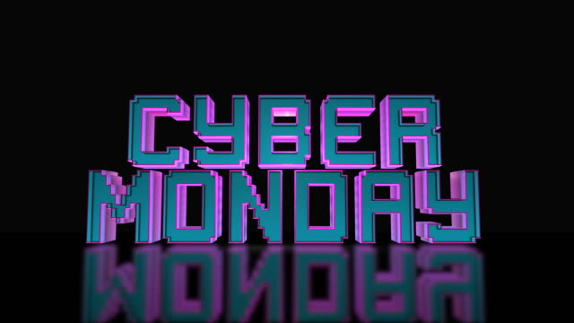 Cyber Monday Mega Sale 3D Text Looping Animation Cyber Monday Mega Sale 3D Text Looping Animation, Gaming And LED Letters, Blue And Purple Colors, Black Background - 4K Resolution Ultra HD cyber monday stock videos & royalty-free footage