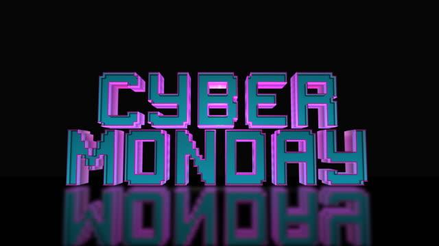 кибер понедельник мега продажа 3d текст цикл анимации - cyber monday стоковые видео и кадры b-roll