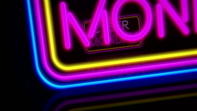 Cyber Monday neon flying Cyber Monday promotional neon. 3D flight over electric fames and texts - discount, sale and special offer. Retro style looping and seamless concept animation. cyber monday stock videos & royalty-free footage
