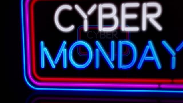 киберпонедельник неоновый полет - cyber monday стоковые видео и кадры b-roll
