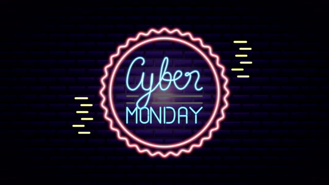 vídeos de stock e filmes b-roll de cyber monday neon light circular label - sela