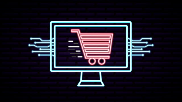 cyber monday neon lights animation with desktop - cyber monday стоковые видео и кадры b-roll