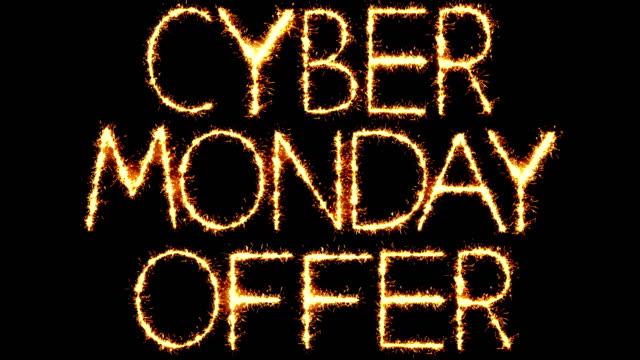 cyber monday offer text sparkler glitter sparks firework loop animation - cyber monday стоковые видео и кадры b-roll