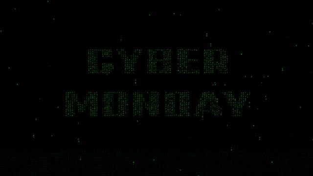 Cyber Monday on matrix font motion background video