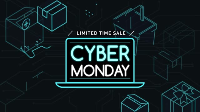 Cyber monday promotional sale banner Cyber Monday promotional sale banner with neon hi-tech items, e-shopping and offers concept cyber monday stock videos & royalty-free footage