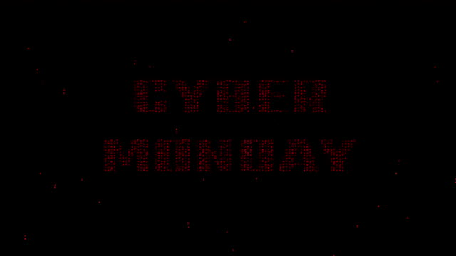 Cyber Monday red words on digital matrix code background video