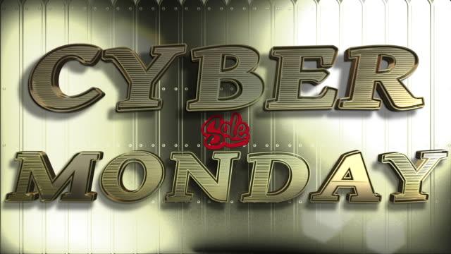 кибер понедельник продажа золото 3d текст цикл анимации - cyber monday стоковые видео и кадры b-roll
