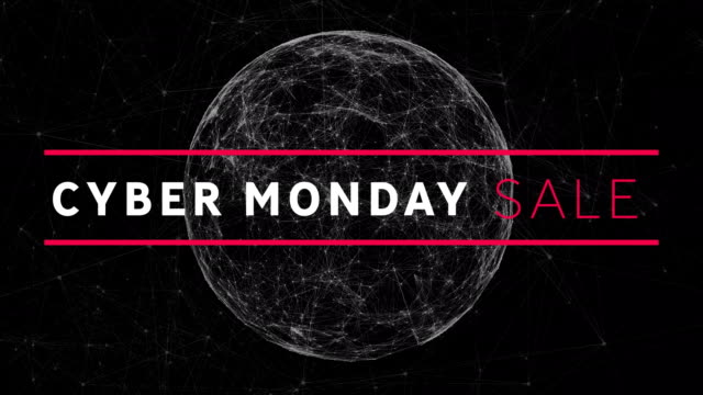 Cyber Monday Sale on black background Animation of the words Cyber Monday Sale in white and pink letters with globe spinning on a black background cyber monday stock videos & royalty-free footage