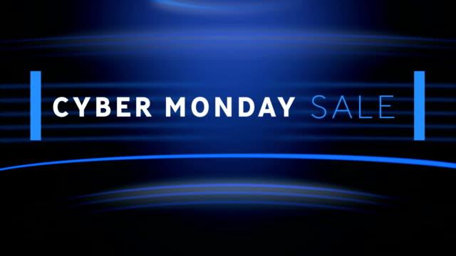 cyber monday sale on blue background - cyber monday filmów i materiałów b-roll