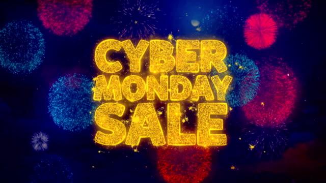 кибер понедельник продажа reeting текст sparkle частицы на цветные фейерверки - cyber monday стоковые видео и кадры b-roll