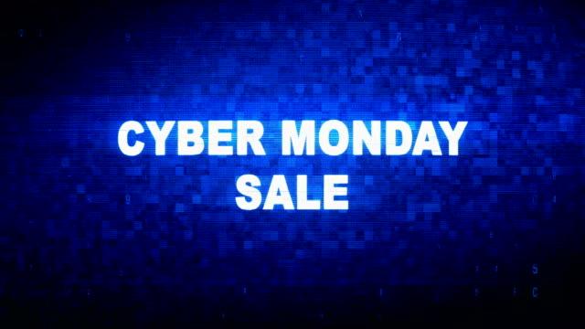 cyber monday sale text digital noise twitch glitch distortion effect error animation. - cyber monday стоковые видео и кадры b-roll
