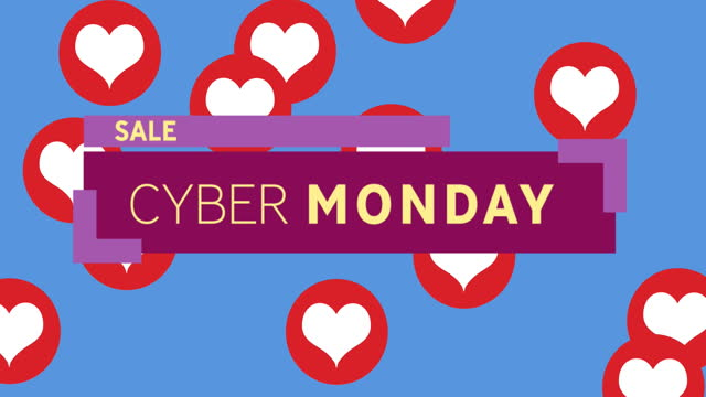Cyber Monday Sale text on purple banner against red hearts icons on blue background