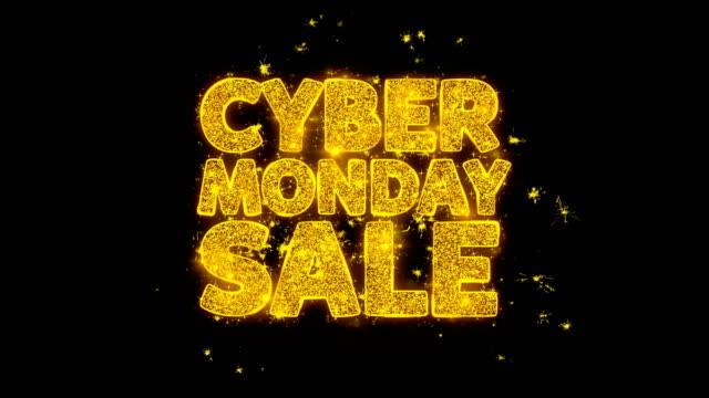 кибер понедельник продажа типография написанная с золотыми частицами искры фейерверк - cyber monday стоковые видео и кадры b-roll