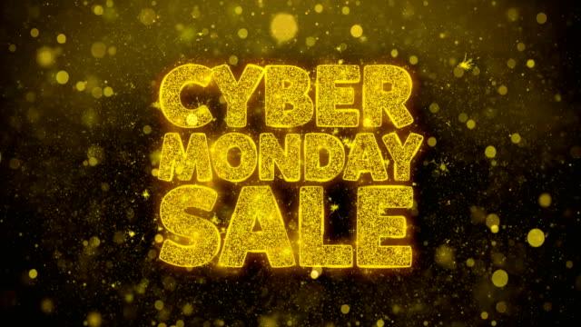 кибер понедельник продажа письменные золотые частицы взрыва фейерверк дисплей - cyber monday стоковые видео и кадры b-roll