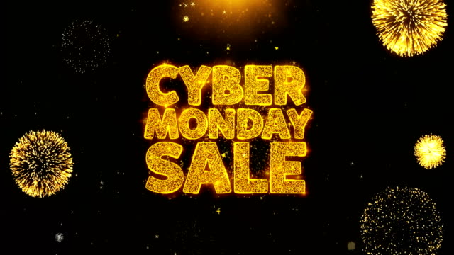 cyber monday sale written gold particles exploding fireworks display - cyber monday стоковые видео и кадры b-roll