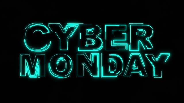 киберпонедельник текст неоновой анимации - cyber monday стоковые видео и кадры b-roll